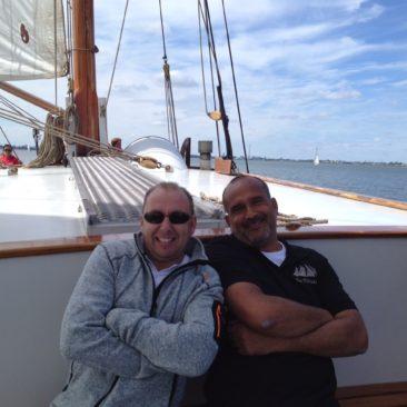 Robert en Leon op het dek